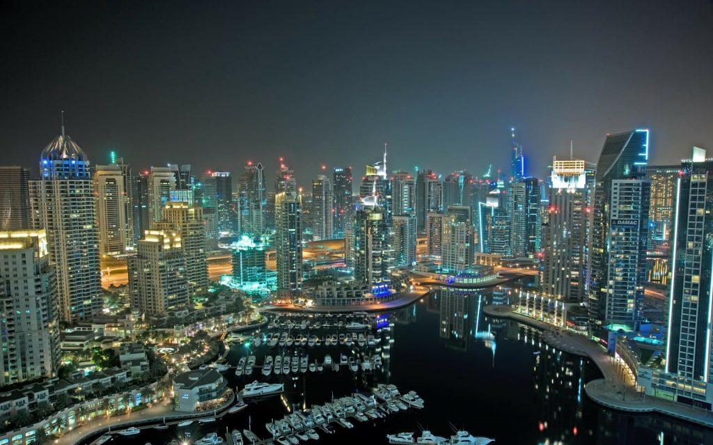 Vista panorâmica de Dubai nos Emirados Arabes Unidos.