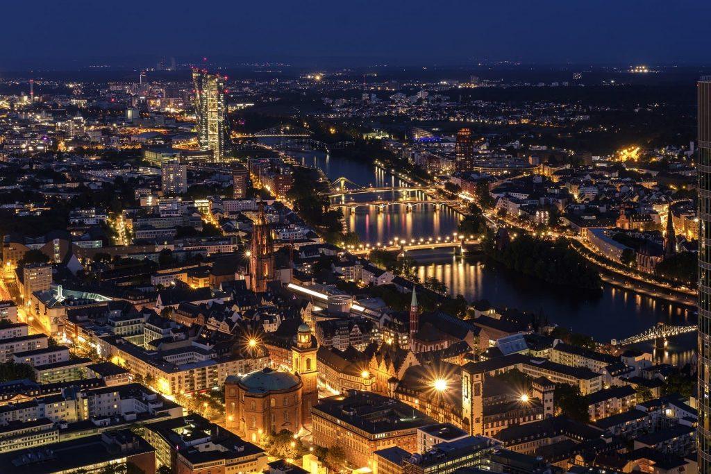 Vista panorâmica de Frankfurt na Alemanha.