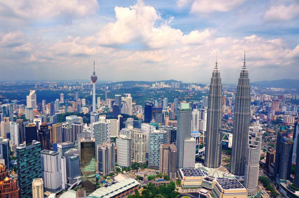 Vista panorâmica de Kuala Lumpur na Malásia.