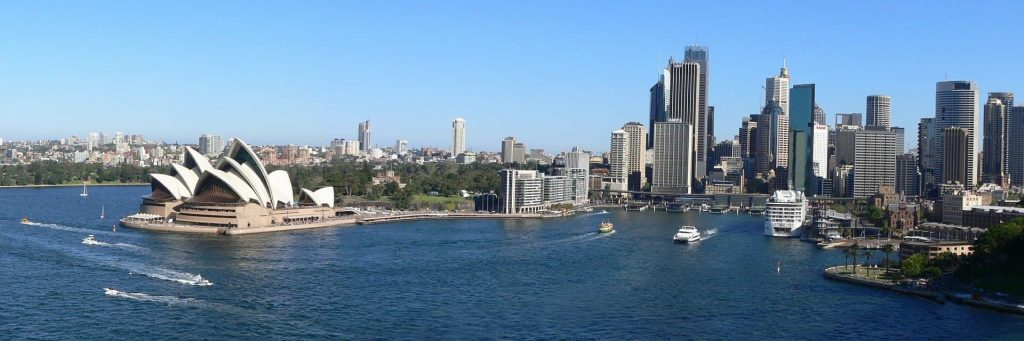 Vista panorâmica de Sydney na Austrália. Vista do Opera House.