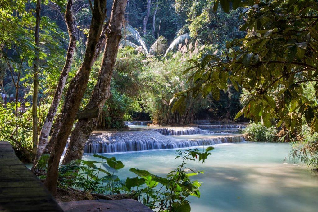 As famosas cachoeiras no Laos