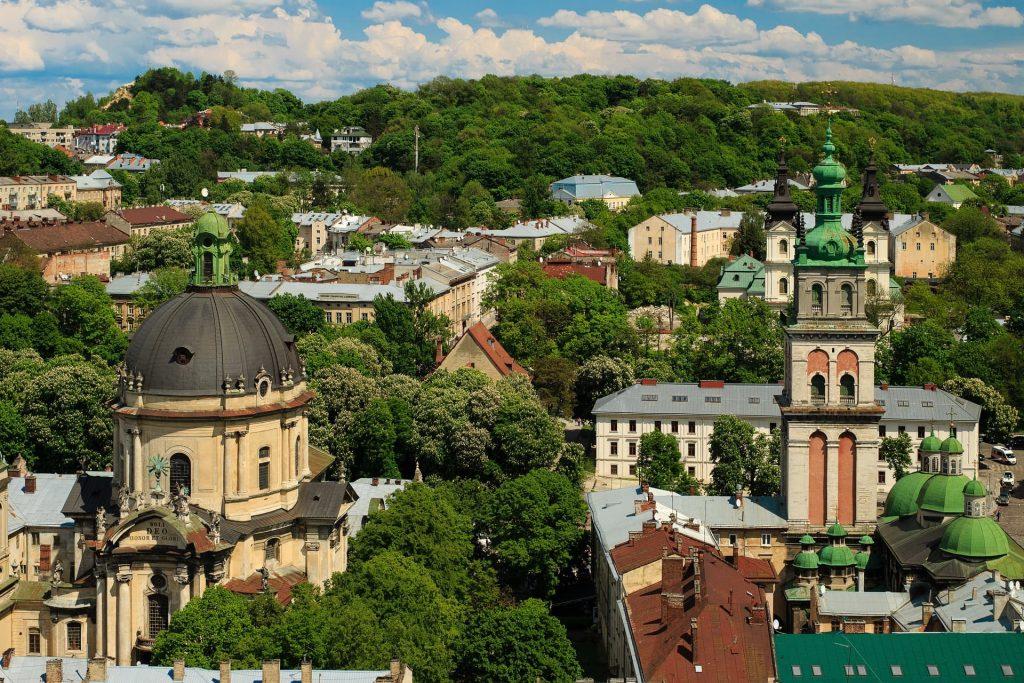 Montanha do Castelo em Lviv na Ucrânia