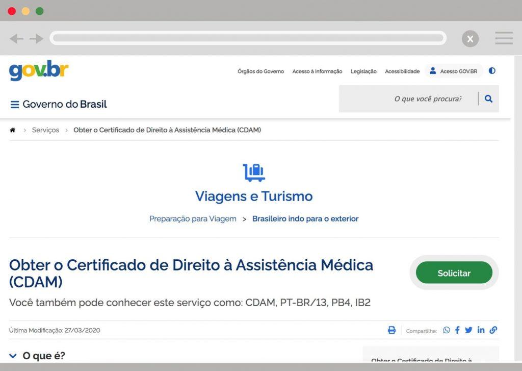 Link do site do governo para solicitar o PB4 e o CDAM